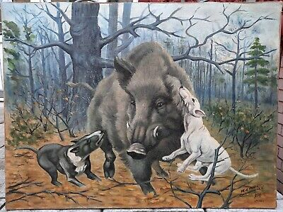 £106.48 • Buy USSR Oil Painting Wild Boar Hunting 1986 Author Onishchenko
