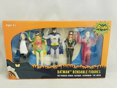 DC Bendable Batman Robin Penguin Catwoman Joker 5 Figures Classic TV Series Set • 19.99£