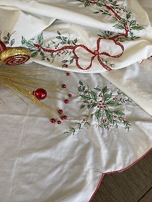 $ CDN22.87 • Buy Vintage Embroidered And Lace Christmas Tablecloth Holly And Ribbons 🎀
