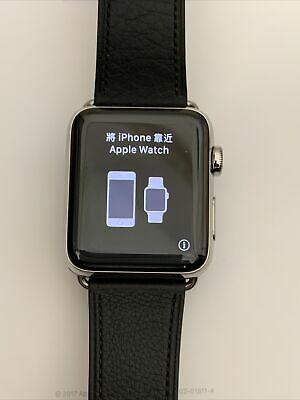 $ CDN424.66 • Buy Apple Watch Series 3 - 42mm Stainless Steel Case Leather Strap GPS + Cellular