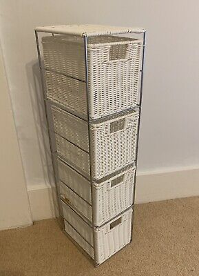 Small White Wicker Rattan Drawers Set  • 20£
