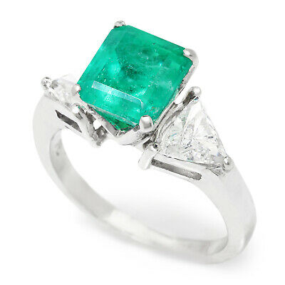Colombian Emerald 3-Stone Ring With Diamonds Platinum 3.15ctw • 5,043.34£