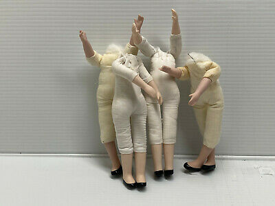$ CDN22.20 • Buy Lot 4 Porcelain Doll Parts Stuffed Miniature Bodies-With LIMBS For 7 / 8  Dolls