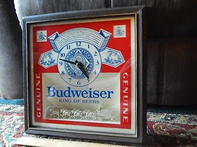 $ CDN98 • Buy Budweiser Deluxe Label Battery Clock  Golden Clydesdales  (1987) Anheuser-Busch