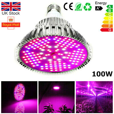£13.99 • Buy 100W LED Grow Light Bulb E27 Full Spectrum Hydroponic Indoor Plant Growing Lamp