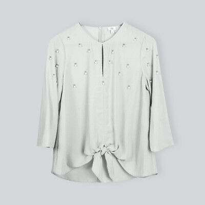 Ladies Womens Pearl Embellished Tie Front Top Blouse Size 6 8 10 12 14 16 18 • 7.99£