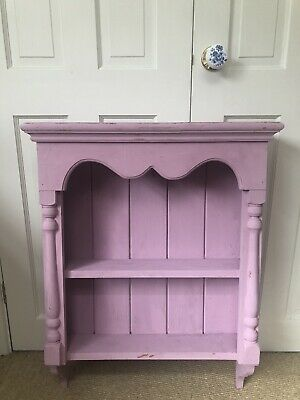Distressed Pink Chalk Painted Farmhouse Pine Dresser Top For Wall Mounting • 15£