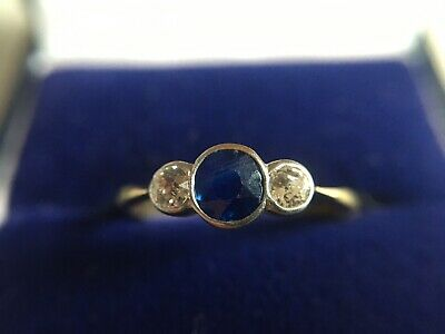 18ct And Platinum Art Deco Sapphire And Diamond Trilogy Ring • 495£
