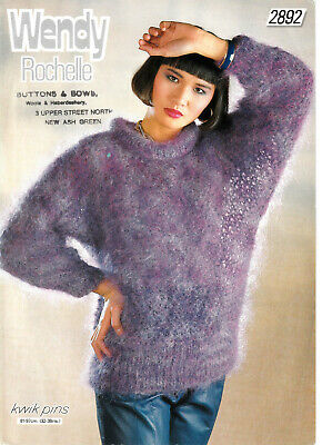 Knitting Pattern Lady's Mohair Sweater 32 - 38  Wendy Rochelle 2892 • 2.85£