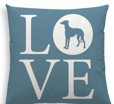 Grey Hound Love Cushion Cover 18' X18' NP • 4£