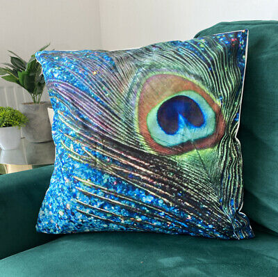 £5.99 • Buy Green & Blue Peacock Feather TROPICAL PRINT  CUSHION COVER 45 X 45 Room Decor