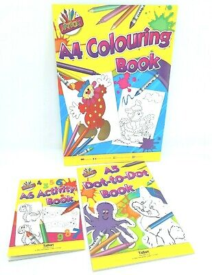 Bumper Activity Pack A4 Colouring Book, A5 Dot To Dot, A6 Activity Book • 2.99£