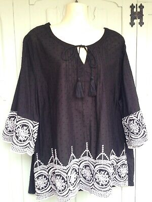 Black Polka Dot Cotton Embroidered Peasant/gypsy Top - Size 22 • 4£