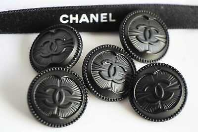 5  Chanel Buttons 5 Pieces   Metal Cc 0,8 Inch 20 Mm  😍😘👍black • 63.69£