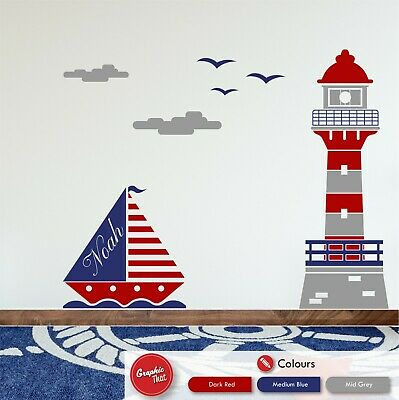 £59.99 • Buy Personalised Nautical Lighthouse & Boat Children's Bedroom Wall Sticker