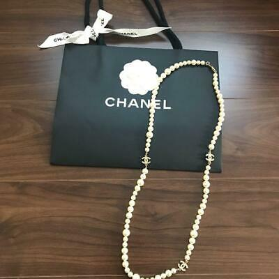 £1042.42 • Buy CHANEL Pearl Necklace Pendant COCO Mark CC Logo White Silver Formal Jewelry USED