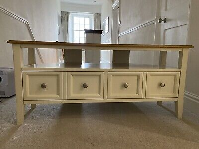 Marks And Spencer Greenwich Cream TV Unit With Oak Marquetry Top Good Condition • 150£