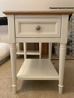 Marks And Spencer Greenwich Side Table Cream With Oak Top Good Condition • 150£