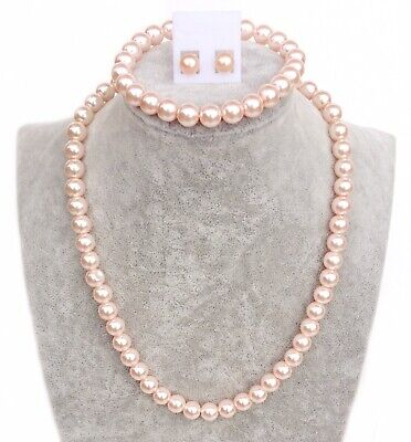 Ladies Vintage Glass Faux Pearl Necklace SET With Bracelet Earrings - 8mm Pink • 2.99£
