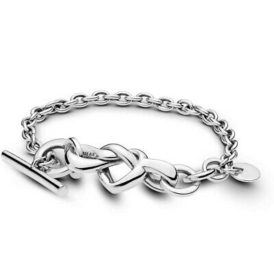 Genuine Silver Pandora Knotted Heart T-Bar Bracelet • 27.99£