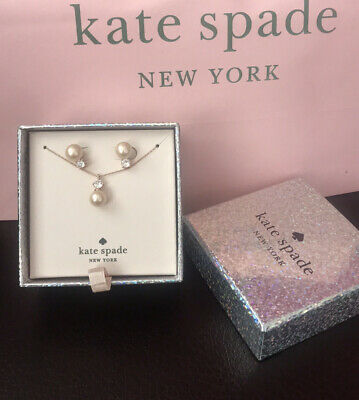 $ CDN56.65 • Buy Kate Spade Everyday Spade Pearl  Studs And Pendant Set In Gift Box Rose Goldtone
