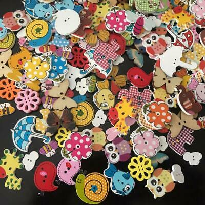 £2.01 • Buy 50Pcs Mixed Animals 2 Hole Wooden Buttons Kids Clothes Sewing Scrapbooking Craft