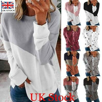 Womens Long Sleeve Sweatshirt T-Shirt Ladies Casual Loose Jumper Hoodies Tops UK • 11.45£