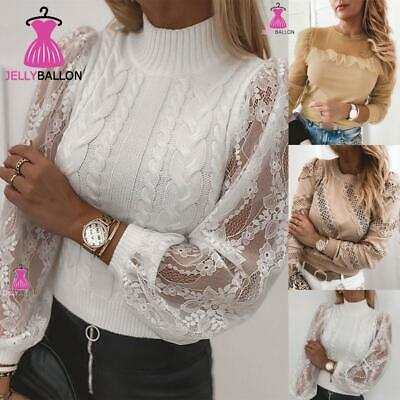 UK Womens Lace Shirts Long Sleeve Casual Blouse Ladies Slim Fit Tops T-shirts • 8.69£