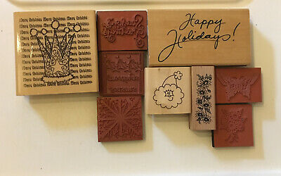 6 Christmas Rubber Stamps Wooden And Foam 3 Floral/butterfly Stamp Bundle • 0.99£