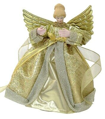 Christmas Tree Topper Fairy Angel Decoration Treetop Ornaments Gold Gown • 9.99£
