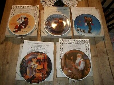 $ CDN32.71 • Buy Knowles Norman Rockwell Santa Christmas Collector Plates Lot Of 5 Plates