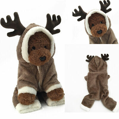 Christmas Puppy Outfit Pet Xmas Reindeer Dog Costume Cat Hoodie Clothes Coat UK • 4.99£