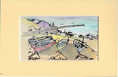 Watercolour Painting On A Quality Paper Boats Harbour Sea Cornwall Devon  • 9.99£