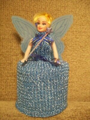 Hand Knitted Blue Fairy Doll Toilet Roll Cover • 8.50£