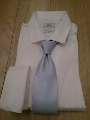 £12 • Buy Mens Next Formal White Slim Fit Double Cuff Shirt 16  Collar & Light Blue Tie