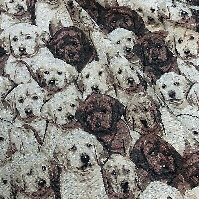 Cotton TAPESTRY Cushion Curtain Bag FABRIC Beige Cute PUPPY DOG Labrador Puppies • 6.95£