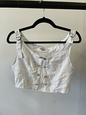 White 00s Y2k Cropped Blouse Top Sixe 8 And 10 • 3.50£