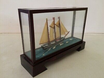 Vintage Small Glass Cased Model Boat Sailing/Ship/Nautical • 12£