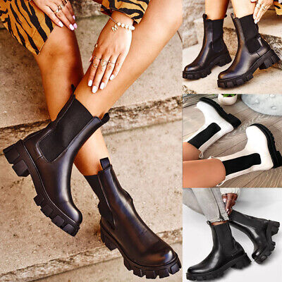UK Womens Leather Platform Stretch Ankle Boots Goth Pull On Calf Punk Shoes Size • 26.19£