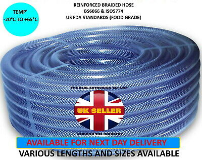 £3.65 • Buy Clear PVC Braided Hose Food Grade Fuel Oil Water Gases Air Reinforced Pipe Tube