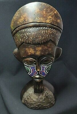 Large African Mask ~ Height: 39.5 Width: 16cm ~ Free Standing • 14.99£