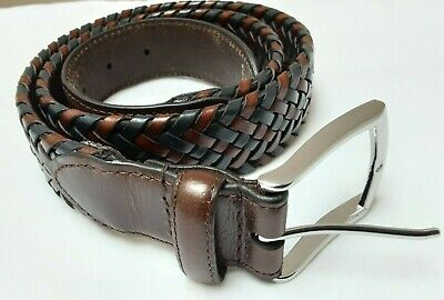 DENTS BROWN AND NAVY WOVEN LEATHER BELT-UK 31-33 WAIST (similar To Andersons ) • 29.99£