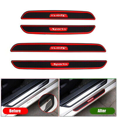 AU25.31 • Buy 4x Accessories Carbon Fiber Car Door Scuff Plate Sill Cover Panel Step Protector