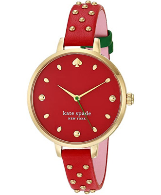 $ CDN95.68 • Buy Kate Spade Metro Ksw1631 Slim Red Leather Gold Stud Strawberry Women's Watch