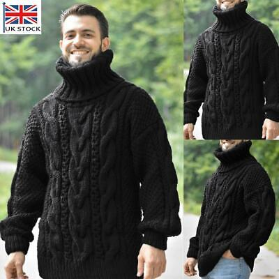 Men's Turtle Neck Chunky Cable Knitted Jumper Thick Warm Winter Sweater Pullover • 10.99£