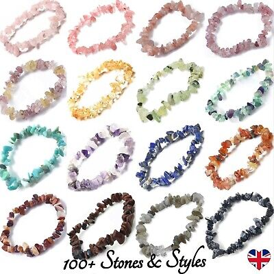 Crystal Gemstone Bracelet 7 Chakra Chip Bead Natural Stones Reiki Jewellery Gift • 3.29£