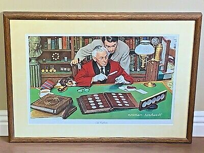 $ CDN54.32 • Buy NORMAN ROCKWELL Signed  The Collector  Custom Framed Wall Art By Franklin Mint
