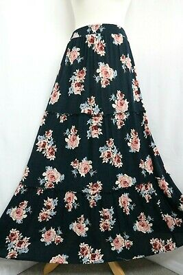 Women's Maxi Skirt Navy Blue Floral Tiered Boho Hippie Gypsy Size 10/12 • 12.99£