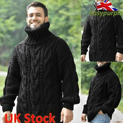 Mens Winter Chunky Cable Knitted Jumper Roll Turtle Neck Pullover Tops Sweater • 22.89£