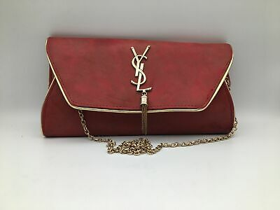 Yves Saint Laurent YSL Vintage Leather With Chain Ladies Red Clutch/Shoulder Bag • 11.50£
